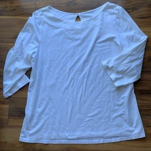 Lilly Pulitzer 3/4 sleeve off white top XL